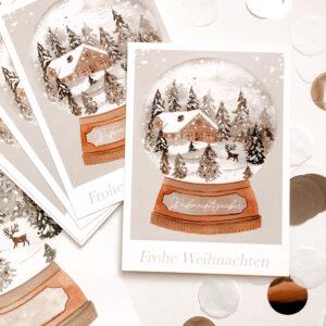 """Weihnachtskarte """"Schneekugel"""""""